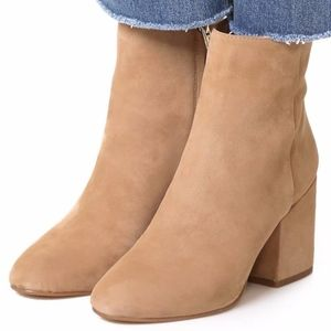 Libby Edelman Tan Suede Heeled Ankle Booties